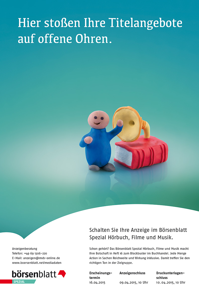 Anzeigenserie_Knetfiguren_Börsenblatt_Spezial__Hoerbuch_Film_Musik