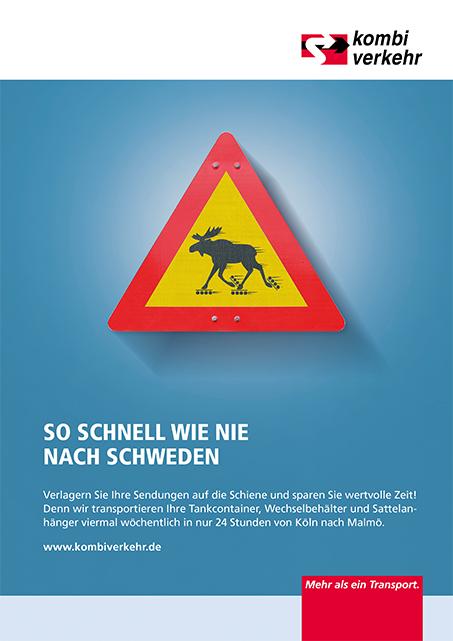 Anzeigen-Kampagne Logistik Motiv Kombiverkehr Schnelligkeit