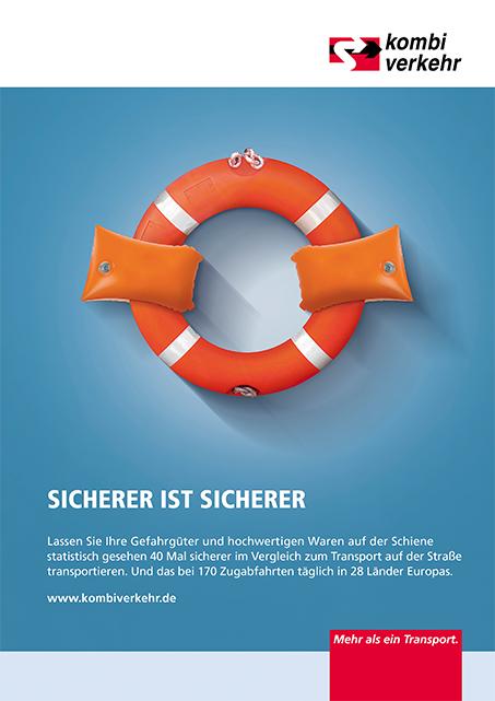 Anzeigen-Kampagne Logistik Motiv Kombiverkehr Sicherheit